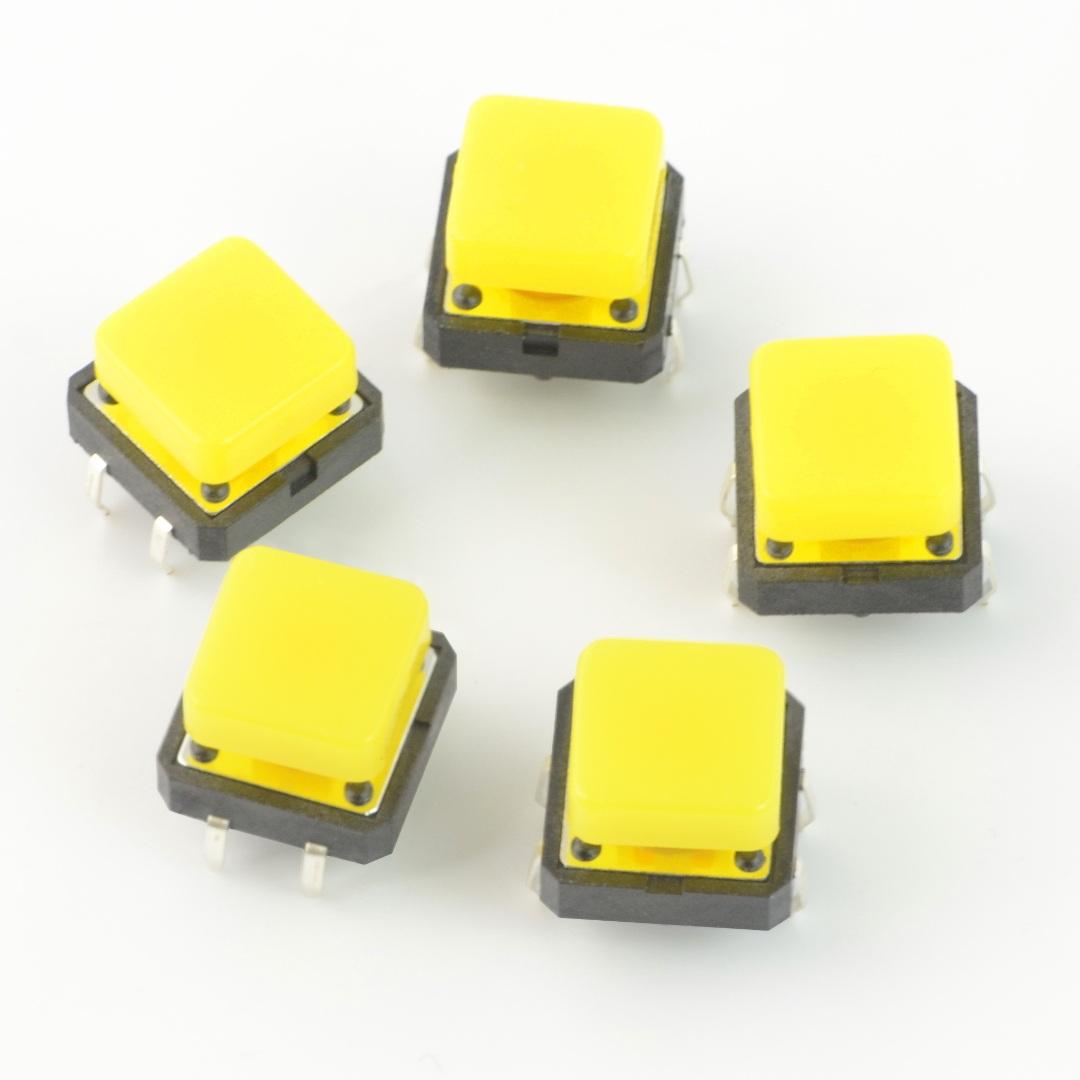 Tact Switch 12x12 mm z nasadką kwadratowy - żółty