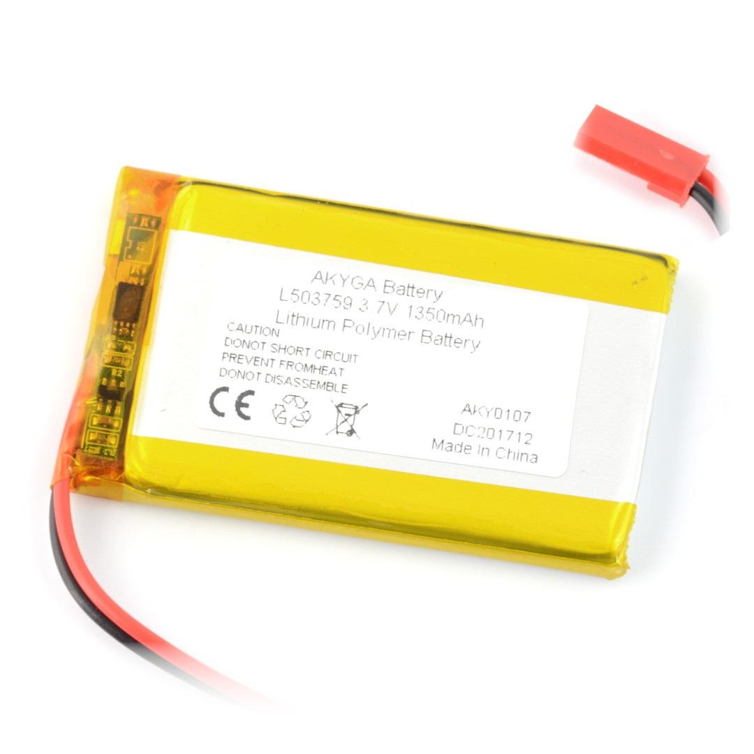 Akumulator Li-Pol Akyga 1350mAh 1S 3,7V - złącze JST-BEC + gniazdo