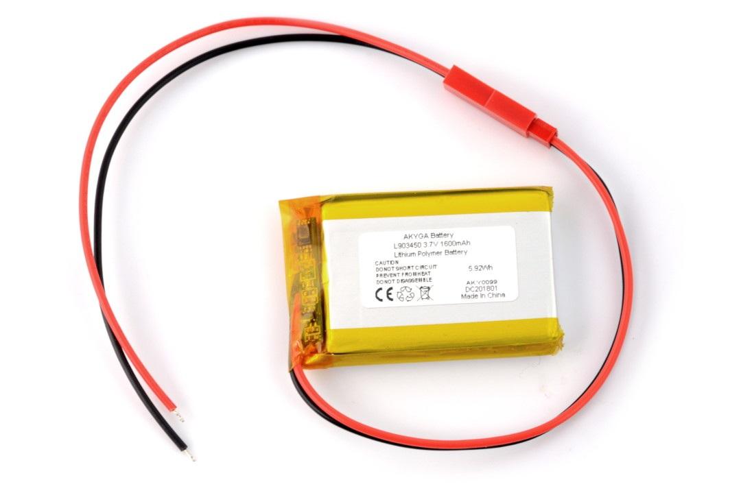 Akumulator Li-Pol Akyga 1600mAh 1S 3,7V - złącze JST-BEC + gniazdo - 50x34x9mm