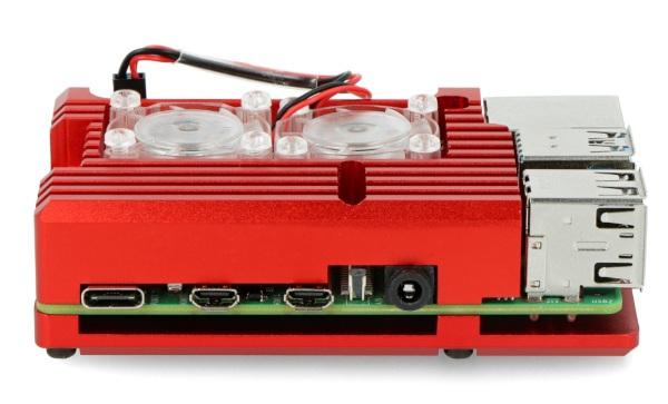 Obudowa do Raspberry Pi 4B - aluminiowa z dwoma wentylatorami - czerwona