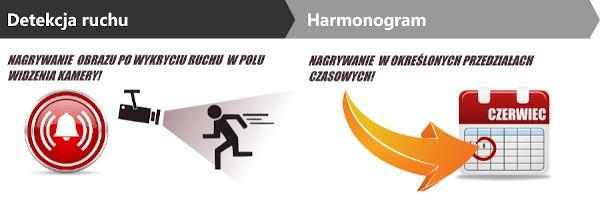 Tryb detekcji ruchu oraz harmonogramu