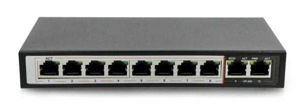 Przełącznik wyposażony w 8 portów 100 Mbps oraz 2 porty 1000 Mbps.