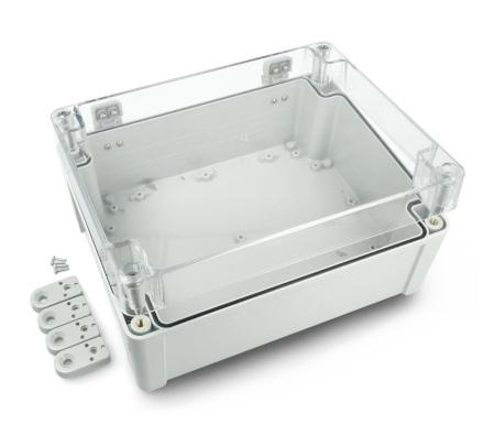 Obudowa plastikowa Kradex ZP240.190.105JpH ABS-PC z uszczelką i mosiężnymi tulejkami IP68 jasno-przeźroczysta