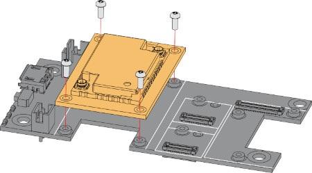 Rysunek przedstawia instrukcję montażu modułu deweloperskiego WisBlock LPWAN i płytki bazowej WiskBlock Base Board.
