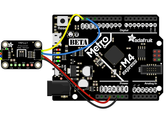 Schemat podłączenia czujnika temperatury od Adafruit z wykorzystaniem złącza STEMMA QT / Qwiic oraz płytki Metro.
