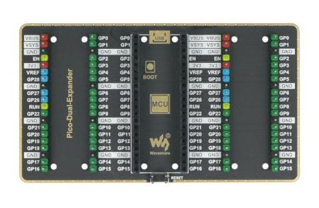 Podwójnyekspander od Waveshare, który pozwala uzupełnić Raspberry Pi Pico o dodatkowe urządzenia peryferyjne.
