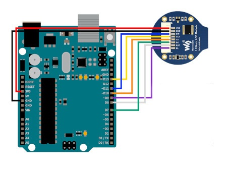 Schemat połączenia wyświetlacza General z płytką Arduino.