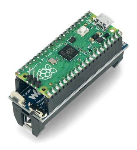 Sposób połączenia elementów. Moduł Raspberry Pi Pico nie jest częścią zestawu, można go nabyć osobno w naszym sklepie.