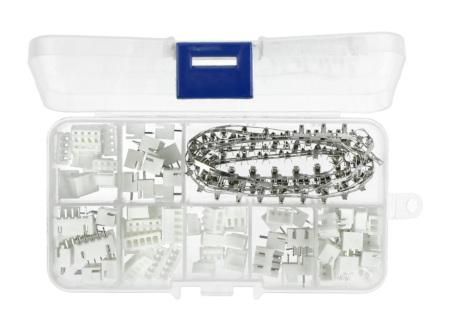Zestaw złącz JST XH2.54 2/3/4/5 pin (męskie+żeńskie) i pinów żeńskich do obudowy gniazda - 230szt.