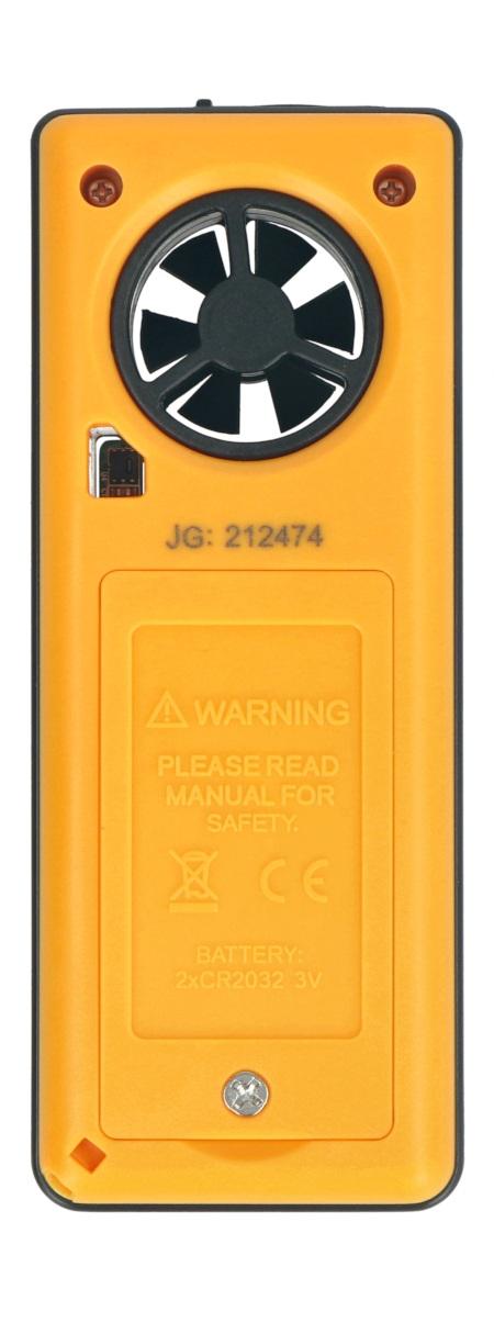 Miernik zasilany jest trzema bateriamiCR 2032 3,0 V.