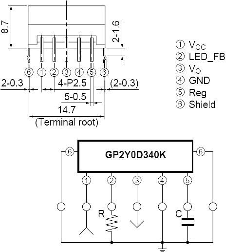 Opis wyprowadzeń cyfrowego czujnika odległości Sharp 40cm