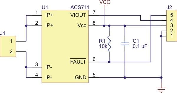 Schemat podłączenia czujnika prądu ACS711 firmy Allegro