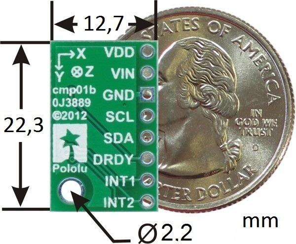 Wymiary akcelerometru LSM303